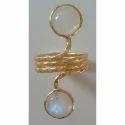 Handmade Gemstone Exclusive Brass Gold Plated Spiral Ring