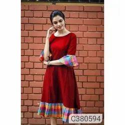 Party Wear Regular Ladies Fancy Khadi Cotton Kurti, Handwash