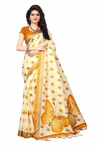 49ef737ec4 Khadi Silk Butterfly Printed Elegant Tassels Saree, Length: 6.3 M ...