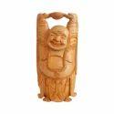 Handmade Wooden Laughing Buddha Statue