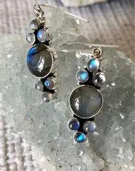 Labradorite with Pearl Earrings