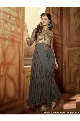 Xxl A LINE FLARED INDIAN PROM DRESSES EVENING GREY GOWN OF NET, Rs ...
