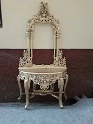 Teakwood Wooden Carving Console Frame Golden Polish