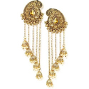 Ladies Gold Polished Designer Artificial Earring, Packaging Type: Plastic Box