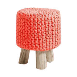Circular Knitted Cotton Pouffe Footstool Size 17 Inch
