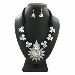 Oxidized Leaf Necklace Set