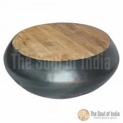 Coffee Table Metal Bowl In Round Shape And Mango Wood Top Metal In Mix Grey Powder Coating Finish