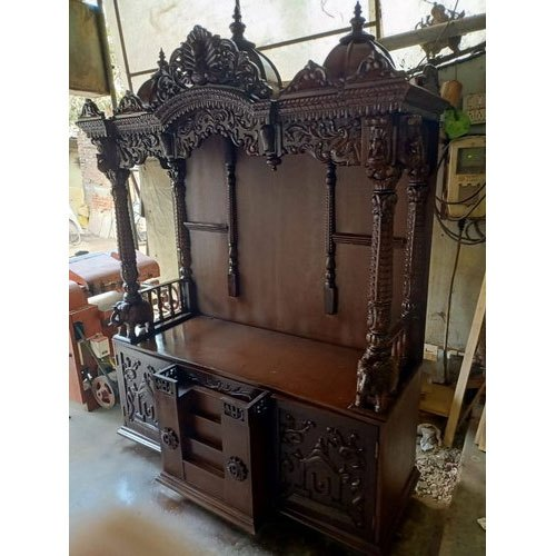 Temple Texas Traditional Home: Hand Carved Brown,Black Hindu Traditional Wooden Temple