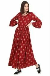Cotton Printed Ladies Ankle Length Anarkali Kurti
