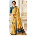 Yellow Silk Embroidered Party Wear Saree, 6 M (with Blouse Piece)