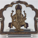 Ganesh In Mandap Wood Carved Car Stand