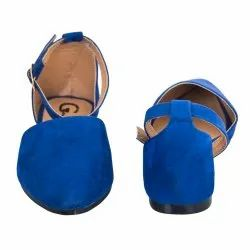 Partywear Blue Ladies Ankle Strap Belly Shoes, Packaging Type: Box