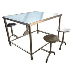 Stainless Steel with Mild Steel Canteen Table Four Seater