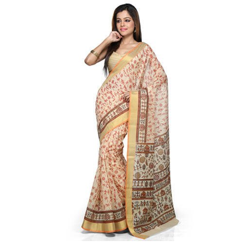 Printed Cotton Saree, 5.5 m (separate blouse piece), With Blouse