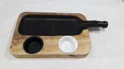 Natural Wooden With Black Bottle Style Snacks Service Set