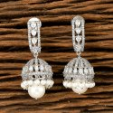 White Cz Rhodium Plated Jhumki Earring 405500