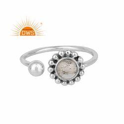Crystal Quartz Gemstone 925 Silver Oxidized Finish Adjustable Rings
