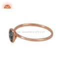 London Blue Topaz Gemstone Rose Gold Plated Silver Ring