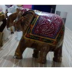 Dark Brown Colorful Soapstone Elephant Figurine, for Interior Decor