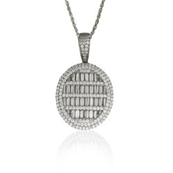 10K Gold Real Baguette Diamond Pendant