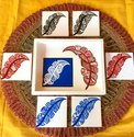 Flo Art Feather Design Wooden Tray With Tea Coasters, Packaging Type: Box