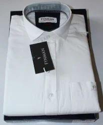 Men's Pure Cotton White Plain Shirt, Size: 38.0 - 42.0