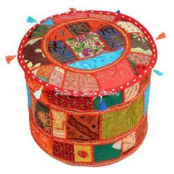 Patchwork Round Pouf Ottoman Cover