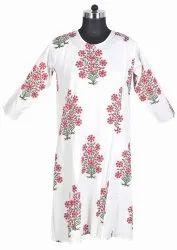 10 Cotton Hand Block Print Women's Long White Kurti Dress DR581