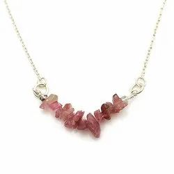 Sparkling Silvex Silver Pink Tourmaline Chips Necklace, For Jewellery