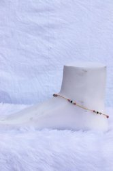 Women Alloy Y6 Multi Color Pearls Golden Chain Anklet