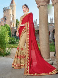 Red & Beige Georgette Thread & Jari Embroidery Work Saree