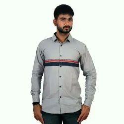 Cotton Printed Grey Striped Shirt