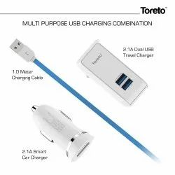 TOR 3211 Toreto Multipurpose USB 3 in 1 Kit Charger, Cable Length: 1 m