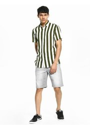 Striped Olive Half Sleeve Men Casual Cotton Shirt