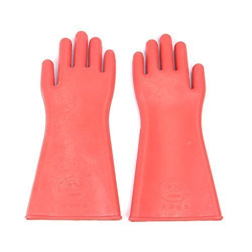 Seamless Rubber Shoulder Length Gloves Red