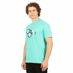 Cotton Round Mens Printed Casual T Shirt