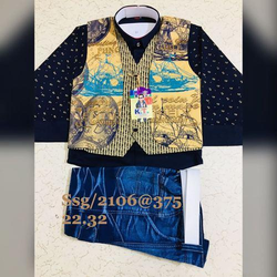 Kids Printed Half Jacket Suit with Half Pant