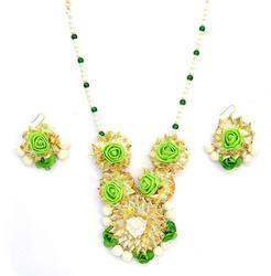 Indian Traditional Bridal Wedding Green Pearl Gota Patti Necklace