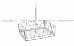Standard SILVER TABLE CADDY ROUND- STAINLESS STEEL, For COMMERCIAL USE, Size: 23X18X23.5CM