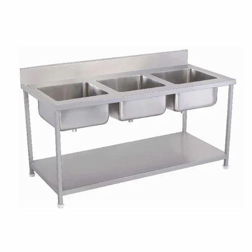 Ska Silver Triple Bowl Kitchen Sink Sri Kathayee Amman Kitchen Equipments Id 14917725530