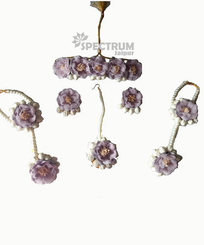 ce3776408 Floret Jewellery Purple Color Gota Patti Necklace, Earrings, & Maang Tika  For Women &