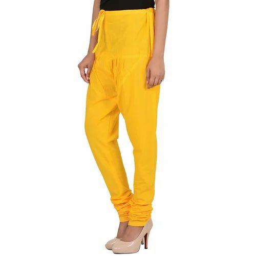 Multicolor Yellow Color Cotton Chudidar Pant For Women