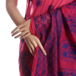 Fuschia Pure Silk Embroidered Saree without Blouse Piece