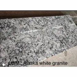 Polished Big Slab LGM Alaska White Granite, Thickness: 5-10 mm