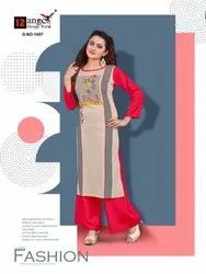 12 Angel Heritage Vol 5 Rayon Long Kurti With Plazzo Concept Wholesale