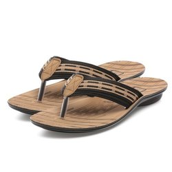Mens Brown Stripped Casual PU Slippers