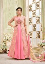 Georgette Pink Party Wear Jacket Style Salwar Suit Rs 1695 Piece