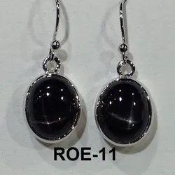 Women Black Sterling Silver Rhodium Earring, 4gms
