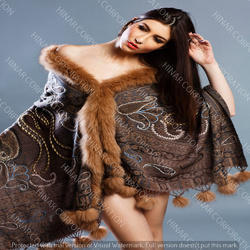 Wool Fur Shawls With Embroidery