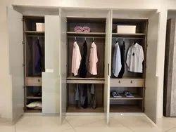 White Hinged Designer Wooden Wardrobe for Home